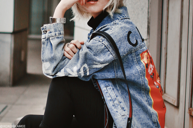 Japanese Fashion Blogger,MizuhoK,20190414OOTD, SheIn=oversize denim jacket, backet bag, UNIQLO=turtle neck top, free's shop=easy pants, ZARA= enamel red boots, mhd=japan necklace, i like paper=silver paper watch,,,,end more!