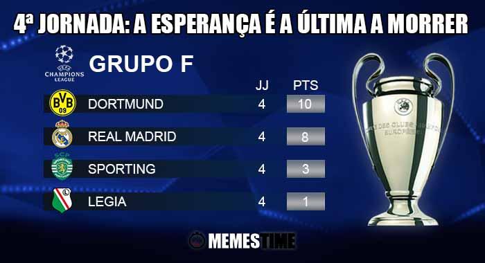 GIF Memes Time, da bola que rola e faz rir - Classificação após a 4ª Jornada do Grupo F da Champions League: Dortmund 1 - 0 Sporting & Legia 3 – 3 Real Madrid | A esperança é a última a morrer
