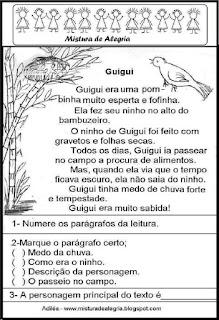 Leitura da pombinha Guigui