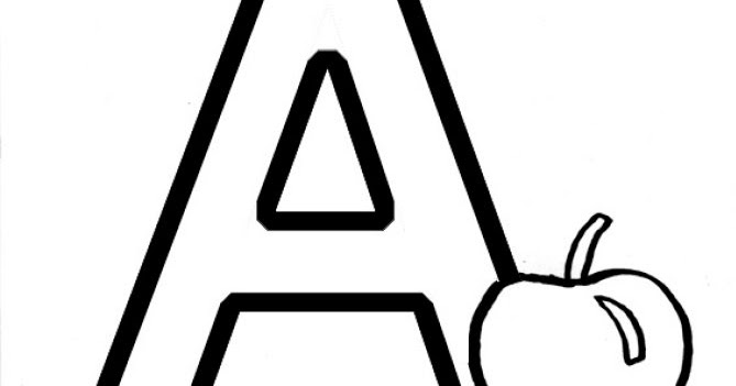 """Coloring & Activity Pages: """"Aa"""" Apple Coloring Page"""