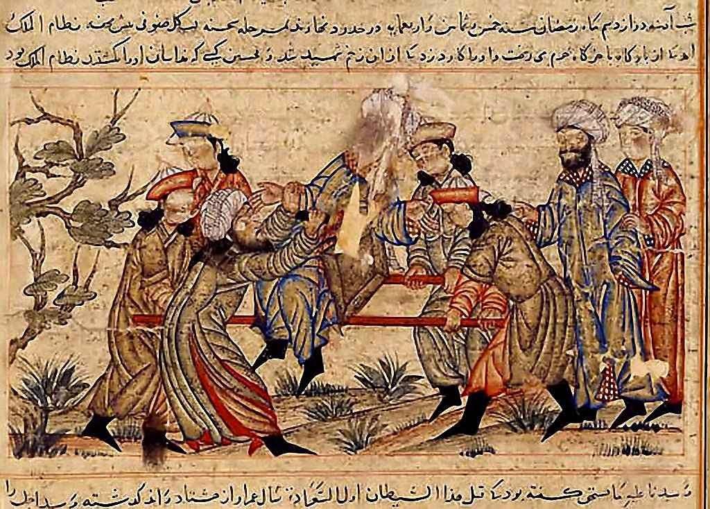 Um agente do Velho da Montanha (turbante branco) assassina o vizir Nizam-al-mulk. Museu de Topkapi, Estambul