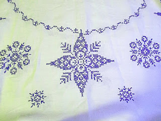 Antique Lithuanian tablecloth, blue cross-stitch on white linen