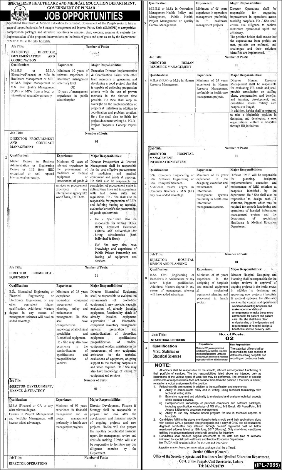 Different Directors Jobs Specialized Healthcare And Medical Education Department Govt 31 May 2017