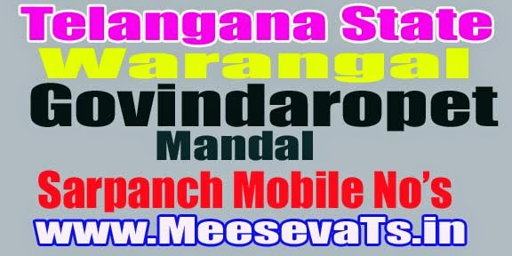 Govindaraopet Mandal Sarpanch Wardmumber Mobile Numbers List Warangal District in Telangana State