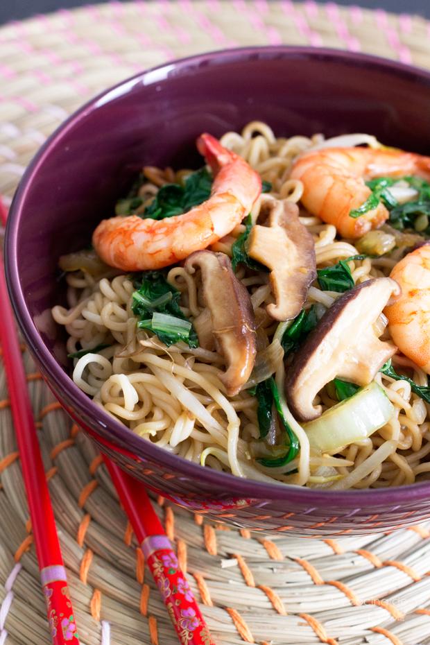 La Cocina De Aisha Noodles Con Gambas Y Setas Shiitake