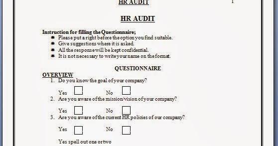 Hr Audit Checklist Questionnaire