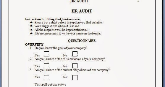 Every bit of life hr audit checklist questionnaire for Sample hr audit report template