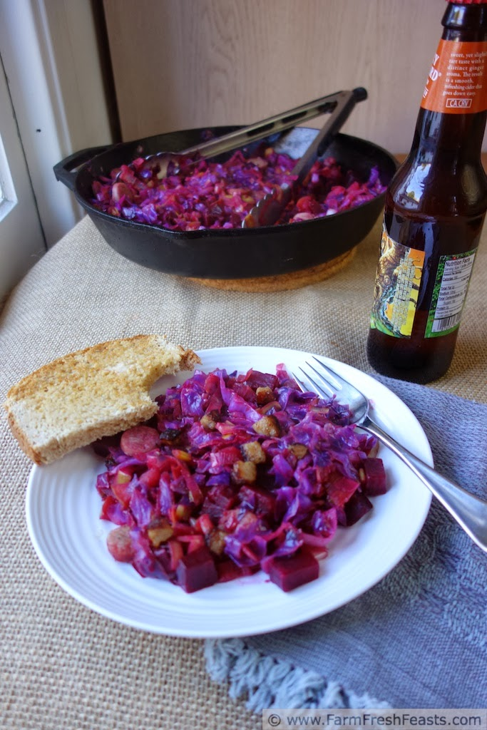 Red Cabbage, Leek, Brat and Beet Skillet Supper | Farm Fresh Feasts
