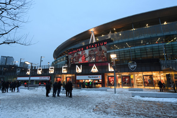 Snow and Ice pave the way for supporters prior to the Premier League match between Arsenal and Manchester City at Emirates Stadium on March 1, 2018 in London, England.