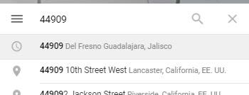 Historial de búsqueda en la que se lee el código postal 44909 en la ciudad de Guadalajara