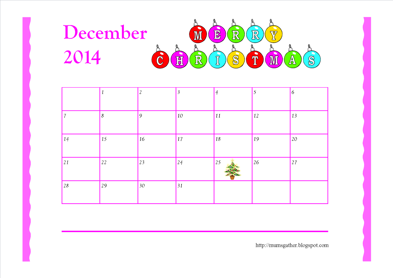 Christmas Calendar 2014 : Free printable december calendar for kids santa