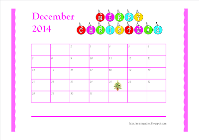 December 2014 Calendar (Christmas Ornaments)