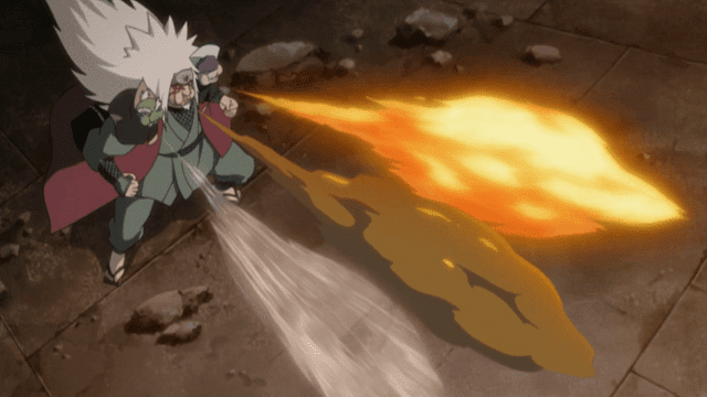 Jiraiya melakukan kolaborasi dengan katak gunung Myoboku untuk membuat jutsu hebat