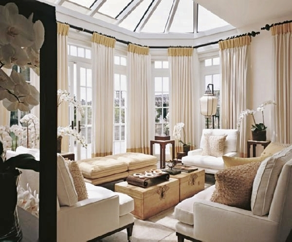 Traditional Living Room with Pleated Linen Drapery Panels with Greek