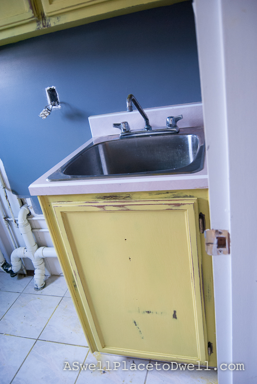 Laundry Room In Progress with Annie Sloan English Yellow // ASwellPlacetoDwell.com