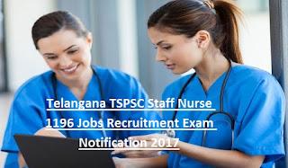 TSPSC Staff Nurse 1196 Govt Jobs Recruitment Notification 2017 of Telangana HFW Dept Online Application Form