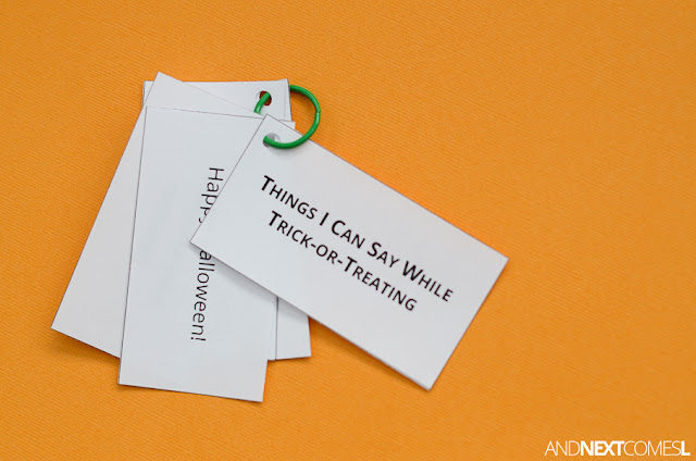 Free printable Halloween speech scripts for kids from And Next Comes L