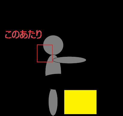 首の位置を示した図