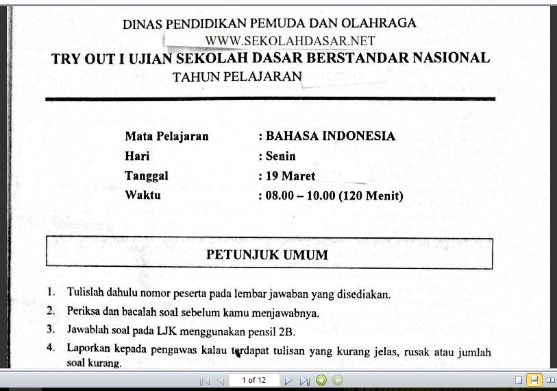 Soal Try Out I Bahasa Indonesia Usbn Sd Dan Kunci Jawabannya Sekolahdasar Net