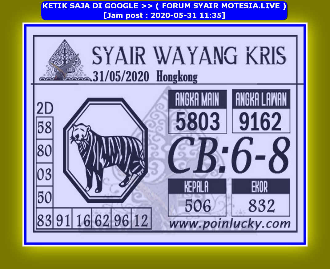 Kode syair Hongkong Minggu 31 Mei 2020 155