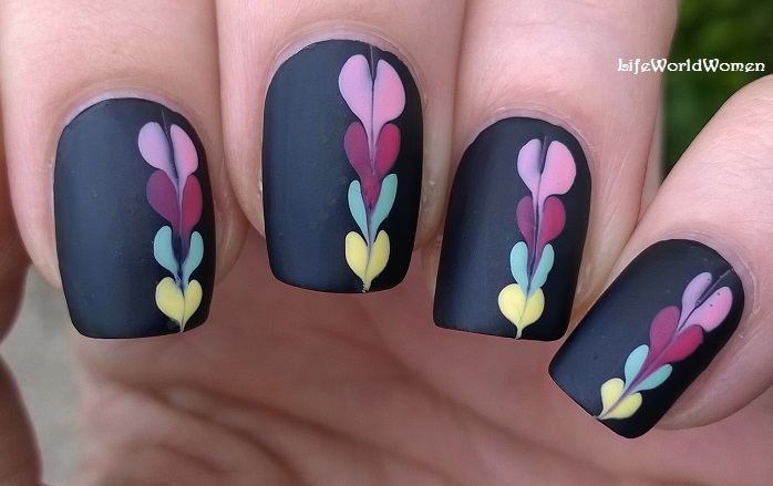 Life world women matte black nail art idea with colorful heart matte black nail art idea with colorful heart like pattern needle dotting tool nail design prinsesfo Gallery