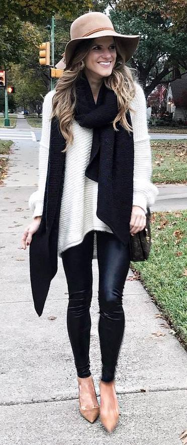 fall fashion trends : hat + black knit scarf + white sweater + bag + leather skinnies + boots
