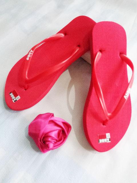 Sandal jepit ABBE Cewe Polos merah