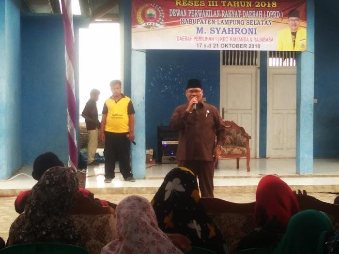 M.Syahroni  Anggota DPRD mengadakan Reses di Waymuli Timur Kec Rajabasa Lamsel.