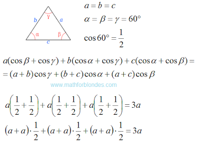 Equilateral triangle. Check the law of cosines. Mathematics For Blondes.