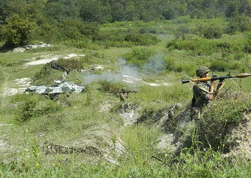 Ejercicios conjuntos de militares rusos y abjasios