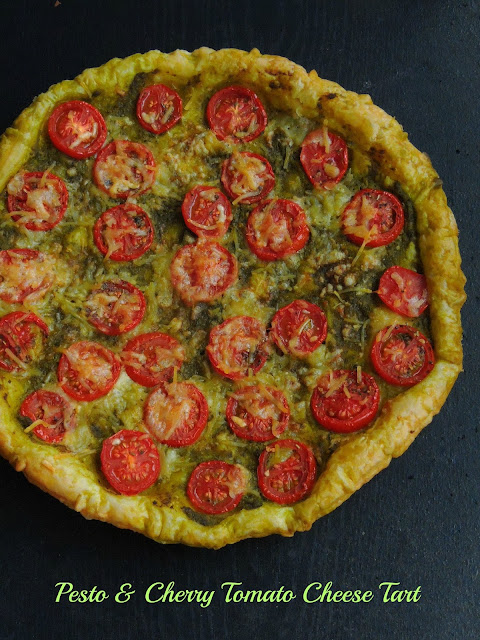Cherry tomato Pesto Puff Pastry Tart, Pesto Cherry tomato cheese tart.jpg