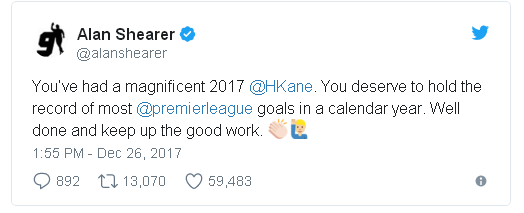 """The Tottenham striker nets his eighth hat trick of 2017 during a match against Southampton to take a 22-year-old record.  He took the record after netting his eighth hat-trick of 2017 in Tottenham's 5-2 win over Southampton.  It took his tally for 2017 to 39.  Shearer's record of 36 goals was set in 1995 while he was at Blackburn Rovers.   The former England striker tweeted his congratulations, saying: """"You've had a magnificent 2017 @HKane. You deserve to hold the record of most @premierleague goals in a calendar year. Well done and keep up the good work.""""  The 39 goals are only part of Kane's 2017 total of 56 for club and country - a figure which surpasses that achieved by Lionel Messi and Cristiano Ronaldo in the same year.  He also took the record for the most Premier League hat tricks in a calendar year with six.  Kane responded with his own comment - tweeting 56 emojis of a football together with a picture of him and his Tottenham teammates.  With 18 goals under his belt since the start of the 2017/2018 season, Kane is also on course to tackle the record of most goals in a season - 31 - currently jointly held by Alan Shearer, Cristiano Ronaldo and Luis Suarez over 38 games.  It caps off a year in which 24-year-old Kane has not only captained England for the first time, but Tottenham topped their Champions League group ahead of Real Madrid.  Kane was named as man of the match at the game against Southampton at Wembley.  His manager Mauricio Pochettino said: """"First of all I want to congratulate Harry Kane, a massive achievement for him, well deserved.  """"And we are all so, so, so, so happy because it's an amazing thing to celebrate. For me, he's world class.  """"I think today, (number) one striker in the world, specific position, who's better than him?""""   BBC Presenter and former England captain Gary Lineker said on Twitter: """"He's only gone and done it. First Shearer's record and now Messi's total is surpassed. Well played @HKane. Absolutely magnificent achievement."""