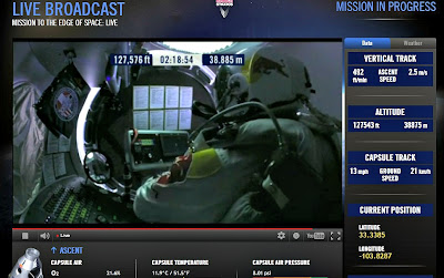 LIVE VIDEO - Mission To The Edge of Space –  Record-Breaking Freefall Jump (4) 10-14-12
