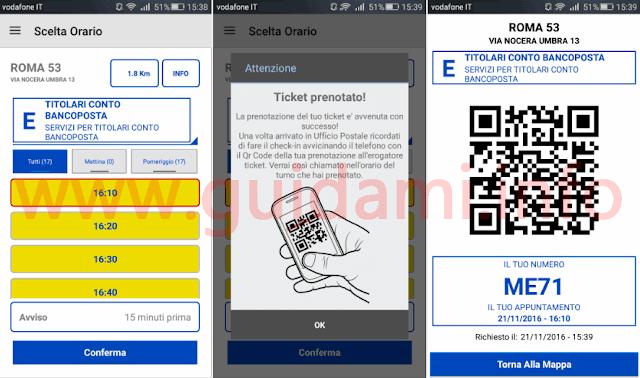 Ticket fila Poste prenotato dall'app Ufficio Postale