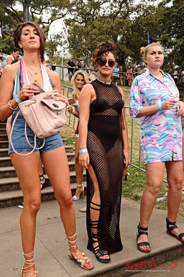 Three women arriving on Fleet Steps, Harbour Life Music Festival Sydney 2016. Photographed by Kent Johnson for Street Fashion Sydney.