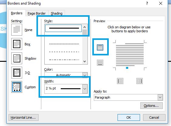 Setting border di Word