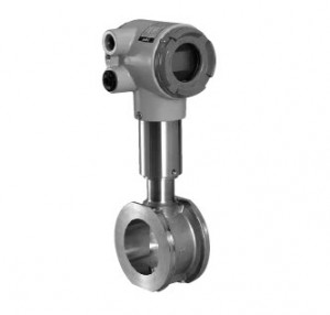 Vortex flowmeter for gas with built-in temperature and pressure compensation