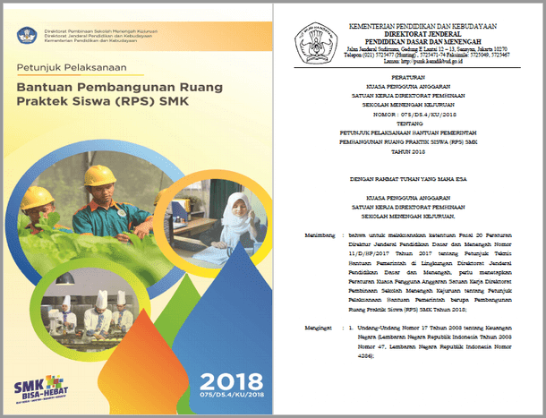 Juklak Bantuan Pembangunan Ruang Praktek Siswa (RPS) SMK Tahun 2018