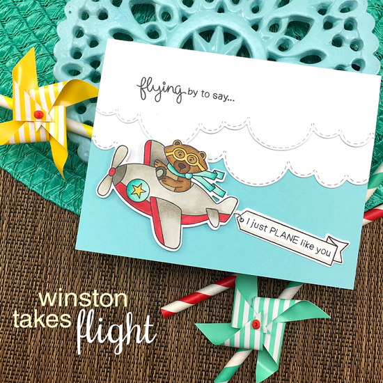 Bear driving Airplane Card by Jennifer Jackson | Winston Takes Flight stamp set and Sky Borders die set by Newton's Nook Designs #newtonsnook