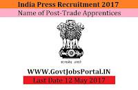 Government of India Press Recruitment 2017– Trade Apprentices