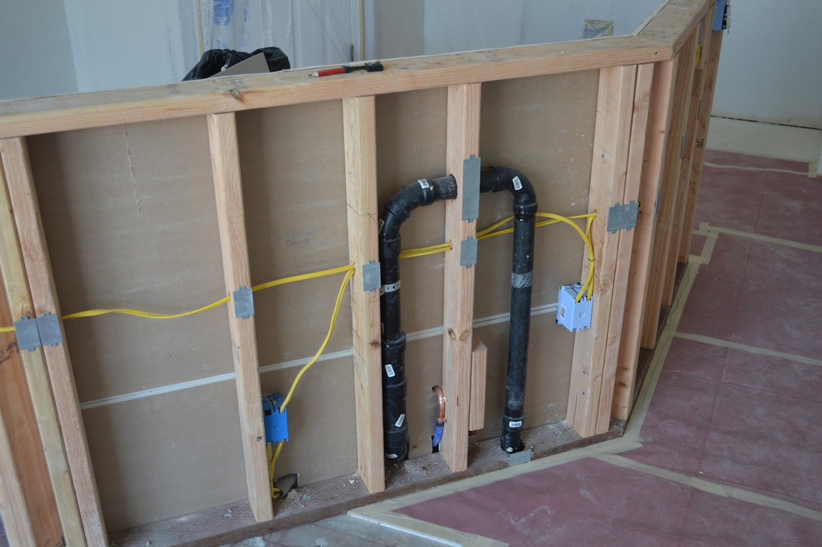 Electrical Plumbing Kitchen Wall Framed