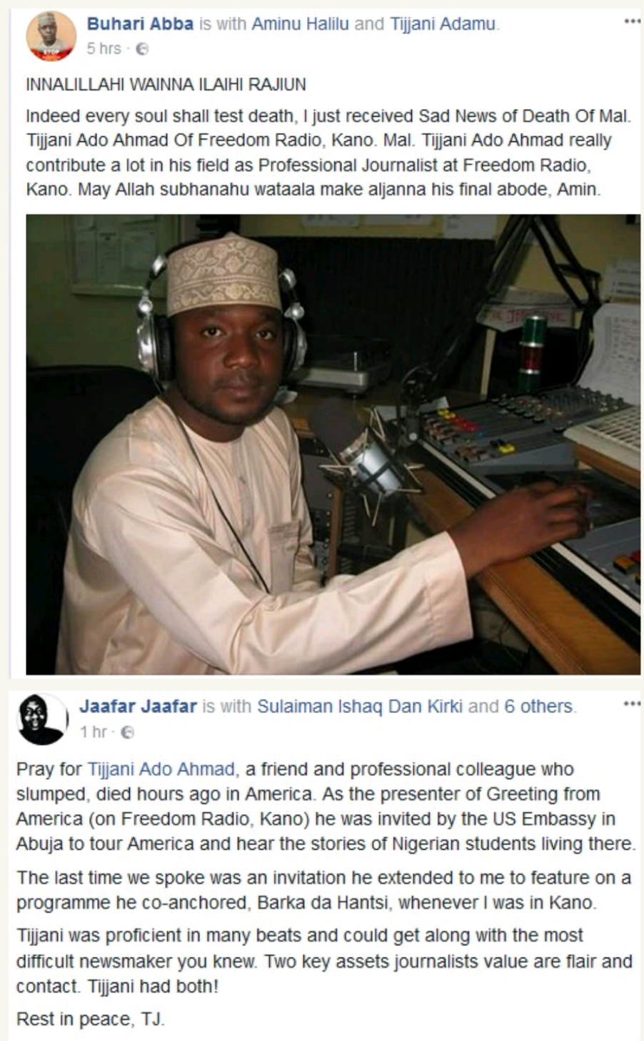 Nigerian journalist tijjani ado ahmad slumps and dies after may his soul rest in peace kristyandbryce Images