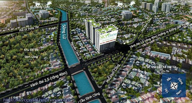 Vị trí dự án chung cư Sky Central 176 Định Công