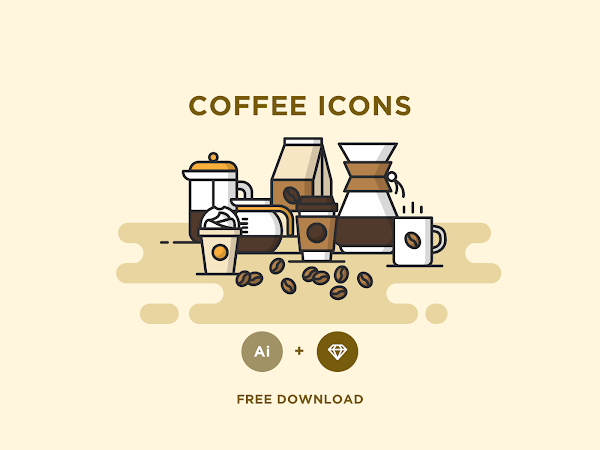 Download  Vector Coffee Icons Set Free