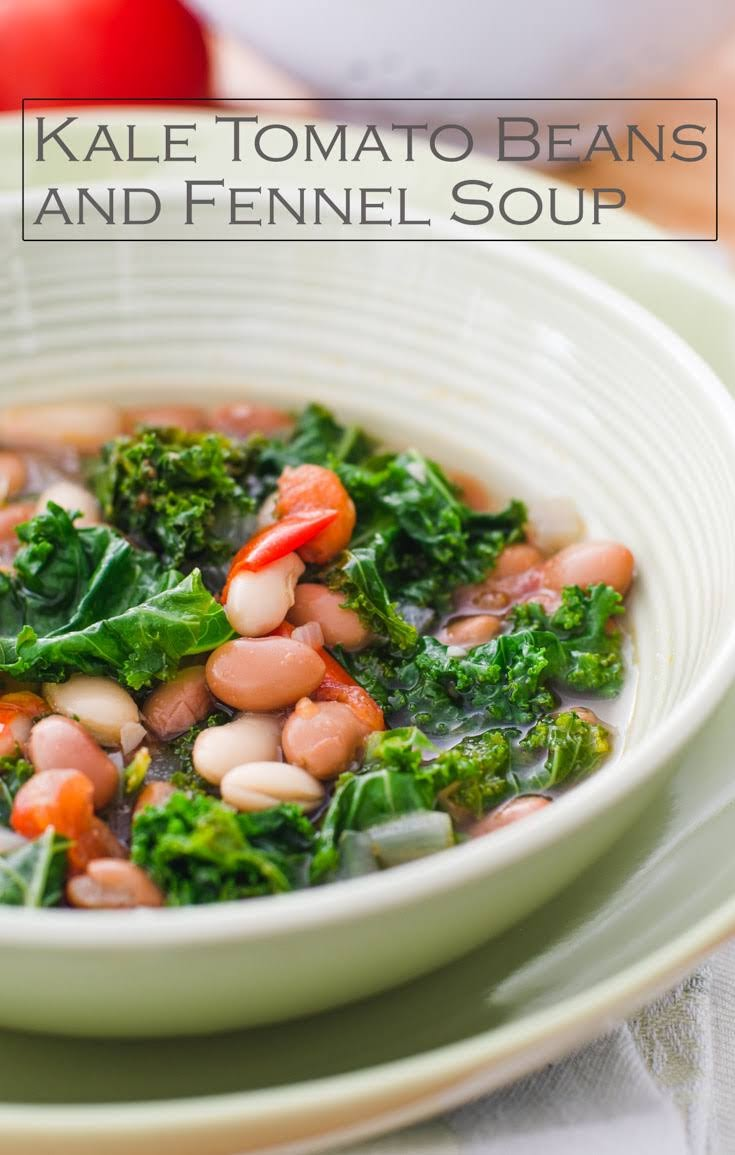 Hearty Kale Tomato Beans and Fennel Soup for the cold weather. This is a copy cat Marks and Spencer's Kale Tomato Beans and Fennel Soup. Serve Kale Tomato Beans and Fennel Soup with warm crusty rolls.