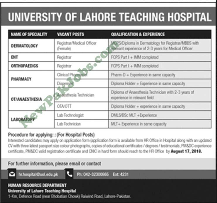 University of Lahore Teaching Hospital Latest Jobs 2018