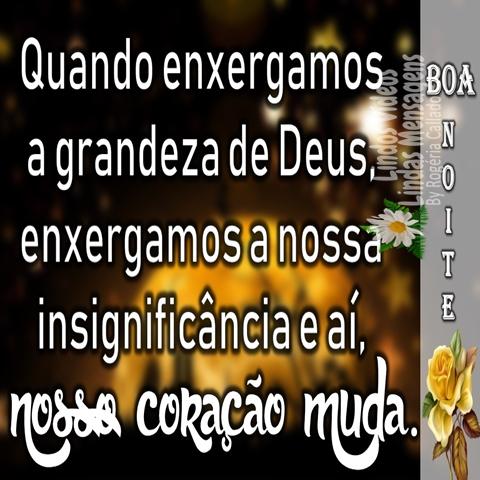Quando enxergamos  a grandeza de Deus,  enxergamos a nossa  insignificância e aí,  nosso coração muda. Boa Noite!