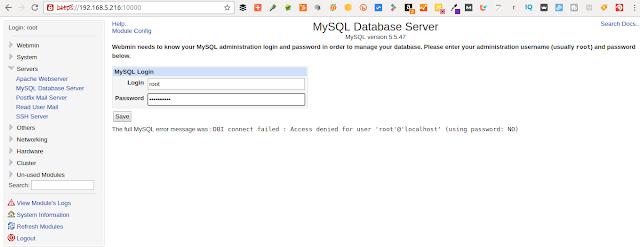 Como administrar MySQL/Mariadb con webmin