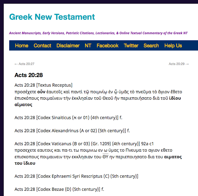 Ancient Manuscripts, Early Versions, Patristic Citations, Lectionaries, & Online Textual Commentary of the Greek NThttps://greeknewtestament.net/ac20-28