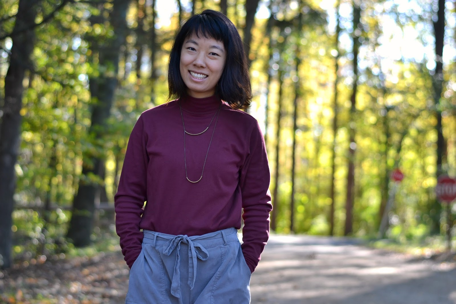 maroon turtleneck outfit